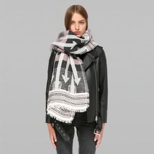 New Mackage Aro Jacquard Scarf in Pink/Grey
